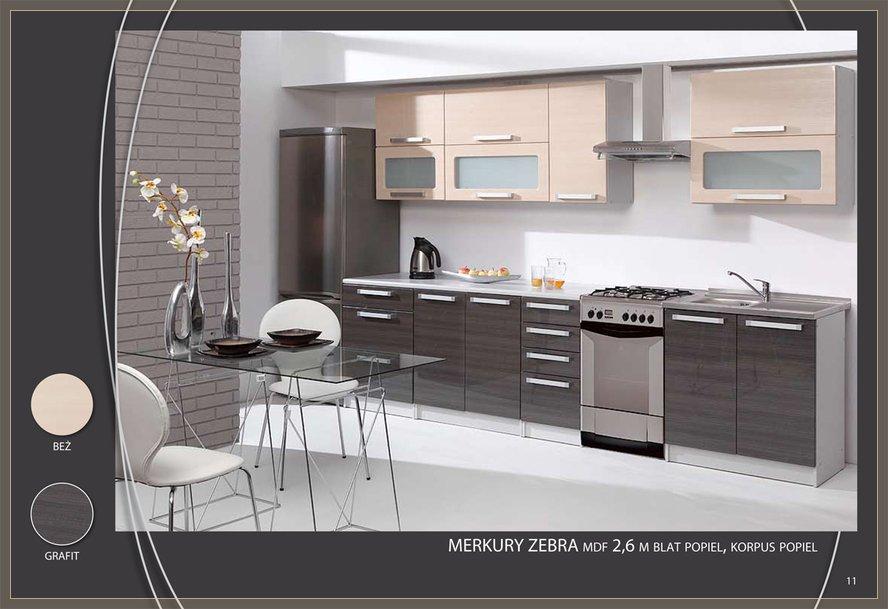 Meble Kuchenne Merkury Zebra Polysk Kuchnia Szara Bez Zestaw Kuchenny Wysoki Polysk